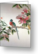 Pink Flower Branch Greeting Cards - Jay on a flowering branch Greeting Card by Chinese School