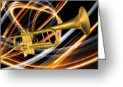 Fine_art Greeting Cards - Jazz Art Trumpet Greeting Card by Louis Ferreira