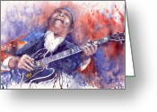 Blues Greeting Cards - Jazz B B King 05 Red Greeting Card by Yuriy  Shevchuk