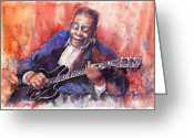 Blues Greeting Cards - Jazz B B King 06 a Greeting Card by Yuriy  Shevchuk