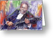 Blues Greeting Cards - Jazz B B King 06 Greeting Card by Yuriy  Shevchuk