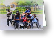 Musicians Digital Art Greeting Cards - Jazz band at Jackson Square Greeting Card by Bill Cannon