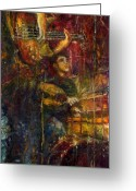Purple Painting Greeting Cards - Jazz Bass Guitarist Greeting Card by Yuriy  Shevchuk