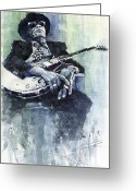 Celebrities Painting Greeting Cards - Jazz Bluesman John Lee Hooker 04 Greeting Card by Yuriy  Shevchuk
