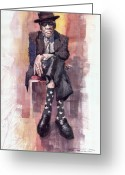 Legend  Greeting Cards - Jazz Bluesman John Lee Hooker Greeting Card by Yuriy  Shevchuk