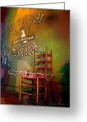Instruments Mixed Media Greeting Cards - Jazz Break in New Orleans Greeting Card by Miki De Goodaboom