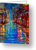 Street Scene Greeting Cards - Jazz Drag Greeting Card by Debra Hurd