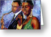 Blues Tapestries - Textiles Greeting Cards - Jazz Duet Greeting Card by Linda Marcille