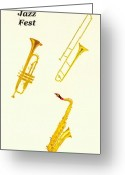 Brass Instruments Greeting Cards - Jazz Fest Greeting Card by Michael Vigliotti
