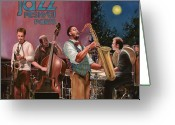 Full Moon Greeting Cards - jazz festival in Paris Greeting Card by Guido Borelli