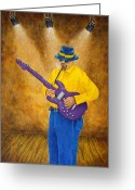 Franz Greeting Cards - Jazz Guitar Man Greeting Card by Pamela Allegretto