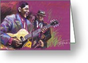 Musicians Pastels Greeting Cards - Jazz Guitarist Duet Greeting Card by Yuriy  Shevchuk