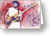 Musicians Glass Greeting Cards - Jazz Guitarist Marcus Miller Red Greeting Card by Yuriy  Shevchuk