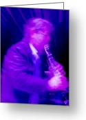 Grooving Greeting Cards - Jazz in Blues Greeting Card by Kent Sorensen