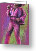 Musicians Pastels Greeting Cards - Jazz James Brown Greeting Card by Yuriy  Shevchuk