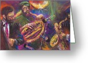 Player Greeting Cards - Jazz Jazzband Trio Greeting Card by Yuriy  Shevchuk