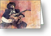 Blues Greeting Cards - Jazz John Lee Hooker Greeting Card by Yuriy  Shevchuk