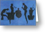 Blues Pastels Greeting Cards - Jazz Greeting Card by Kate Hopson