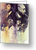 Music Legends Greeting Cards - Jazz Legends Parker Gillespie Armstrong  Greeting Card by Yuriy  Shevchuk
