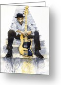 Marcus Greeting Cards - Jazz Marcus Miller 4 Greeting Card by Yuriy  Shevchuk