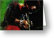 African Greeting Cards - Jazz Miles Davis 1 Greeting Card by Yuriy  Shevchuk