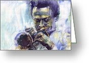 Davis Greeting Cards - Jazz Miles Davis 10 Greeting Card by Yuriy  Shevchuk
