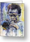 Davis Greeting Cards - Jazz Miles Davis 12 Greeting Card by Yuriy  Shevchuk