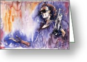 Trumpet Glass Greeting Cards - Jazz Miles Davis 14 Greeting Card by Yuriy  Shevchuk