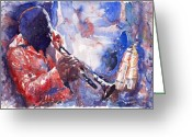 Davis Greeting Cards - Jazz Miles Davis 15 Greeting Card by Yuriy  Shevchuk