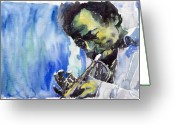 Featured Painting Greeting Cards - Jazz Miles Davis 5 Greeting Card by Yuriy  Shevchuk