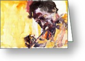 Davis Greeting Cards - Jazz Miles Davis 6 Greeting Card by Yuriy  Shevchuk