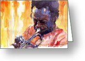 Davis Greeting Cards - Jazz Miles Davis 8 Greeting Card by Yuriy  Shevchuk