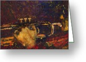 Davis Greeting Cards - Jazz Miles Davis  Greeting Card by Yuriy  Shevchuk