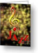 Linda Seacord Greeting Cards - Jazz Music Poster Greeting Card by Linda Seacord