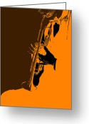 Brown Digital Art Greeting Cards - Jazz Greeting Card by Irina  March