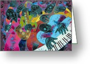 Black Art Greeting Cards - Jazz On Ogontz Ave. Greeting Card by Larry Poncho Brown