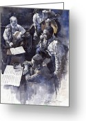 Nyc Greeting Cards - Jazz Parker Tristano Bauer Safransky RCA studio NY 1949 Greeting Card by Yuriy  Shevchuk