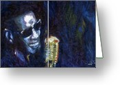 Legend  Greeting Cards - Jazz Ray Charles Song Greeting Card by Yuriy  Shevchuk