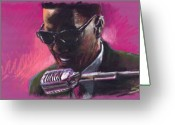 Ray Charles Greeting Cards - Jazz. Ray Charles.1. Greeting Card by Yuriy  Shevchuk