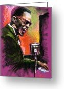 Musician Drawings Greeting Cards - Jazz. Ray Charles.2. Greeting Card by Yuriy  Shevchuk