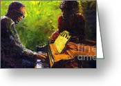 Piano Greeting Cards - Jazz Ray Duet Greeting Card by Yuriy  Shevchuk