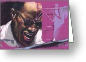 Ray Charles Greeting Cards - Jazz Ray Greeting Card by Yuriy  Shevchuk