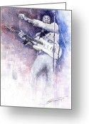 Celebrities Painting Greeting Cards - Jazz Rock Jimi Hendrix 07 Greeting Card by Yuriy  Shevchuk