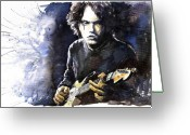 Watercolour Greeting Cards - Jazz Rock John Mayer 03  Greeting Card by Yuriy  Shevchuk