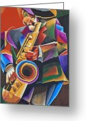 Live Music Greeting Cards - Jazz Sax Greeting Card by Bob Gregory