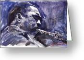 John Koltrane Greeting Cards - Jazz Saxophonist John Coltrane 01 Greeting Card by Yuriy  Shevchuk
