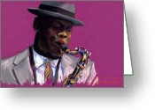Musicians Pastels Greeting Cards - Jazz Saxophonist Greeting Card by Yuriy  Shevchuk