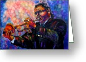 Blues Tapestries - Textiles Greeting Cards - Jazz Solo Greeting Card by Linda Marcille