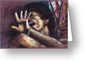 Figure Greeting Cards - Jazz Song 1 Greeting Card by Yuriy  Shevchuk