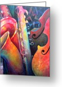 Musical Art Greeting Cards - Jazz  Greeting Card by Susanne Clark